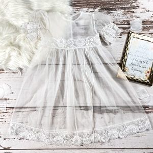 Unlined Sheer Mesh & Lace Childs Dress